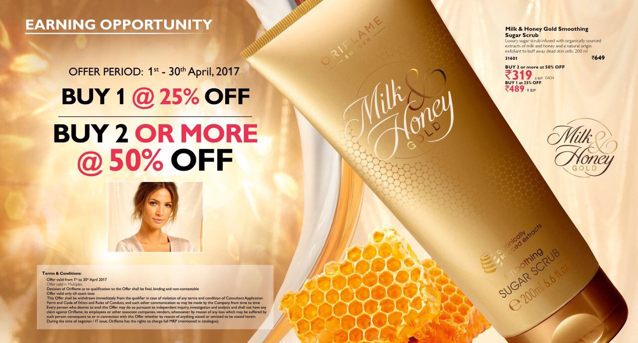 Current Month Offer Oriflame April Catalog And Offers Purvi Milk Honey Sugar Scrub